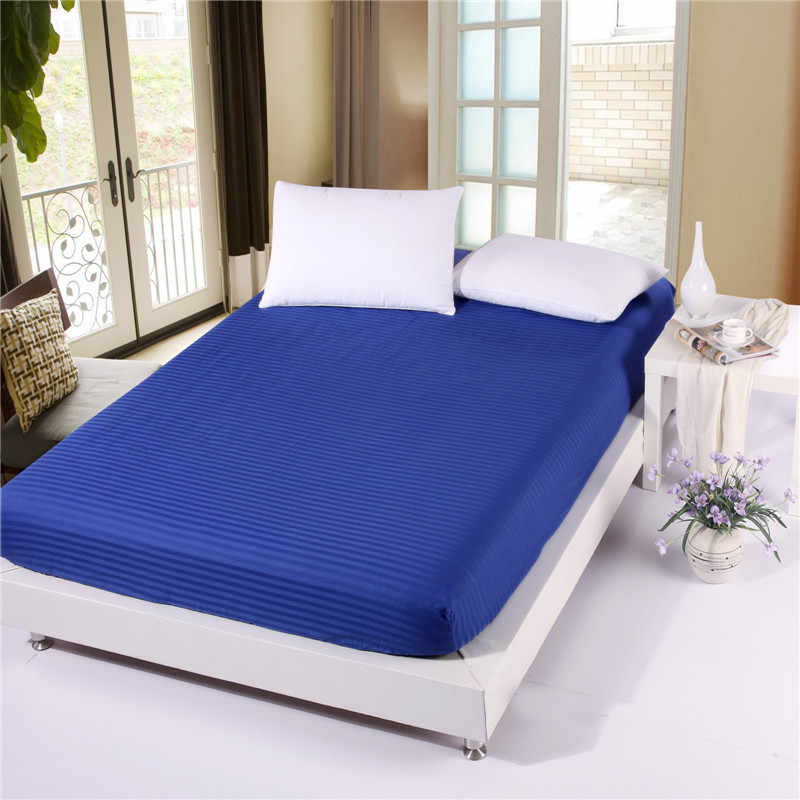 1pcs 100%Cotton  Solid Color Fitted Sheet Stripe Mattress Cover Four Corners With  Elastic Band Bed Sheet