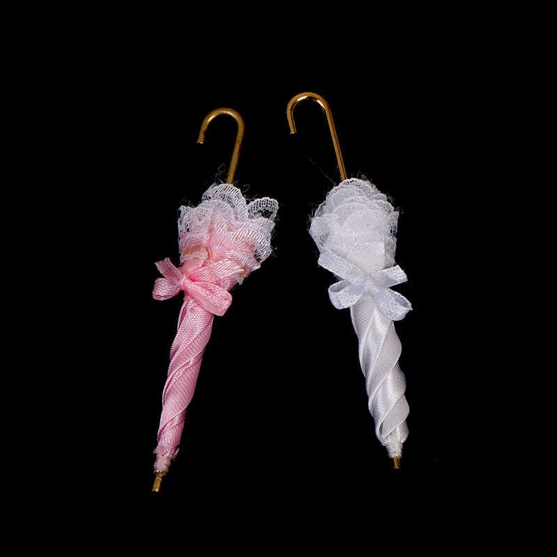 1 PCS 1/12 Senhora Guarda-chuva Do Laço Real Acessórios de casa de Bonecas Em Miniatura Casa De Bonecas Decoração Menina Crianças Brinquedos de Presente de Aniversário
