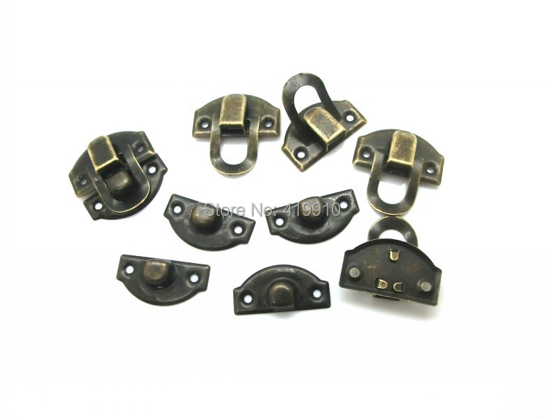 Free Shipping-50 Sets Bronze Tone Jewelry Wooden Case Boxes Making Lock Latch Hardware 28mm x 27mm 27mm x 13mm,J1812