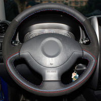 Top Leather Steering Wheel Hand stitch on Wrap Cover For Suzuki Jimny 2011 2013