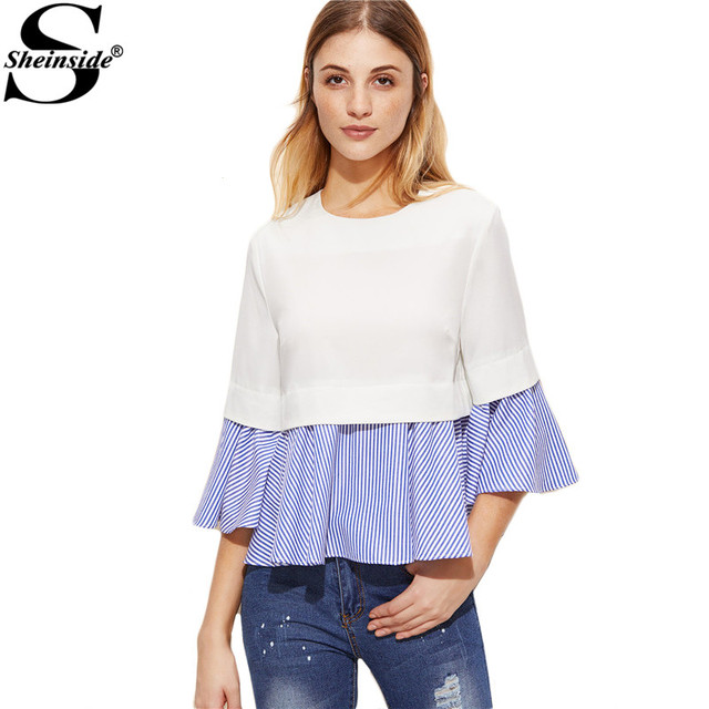 Sheinside Womens Clothes 2017 Spring Women White And Blue Striped Ruffle Top Three Quarter Length Sleeve Blouse