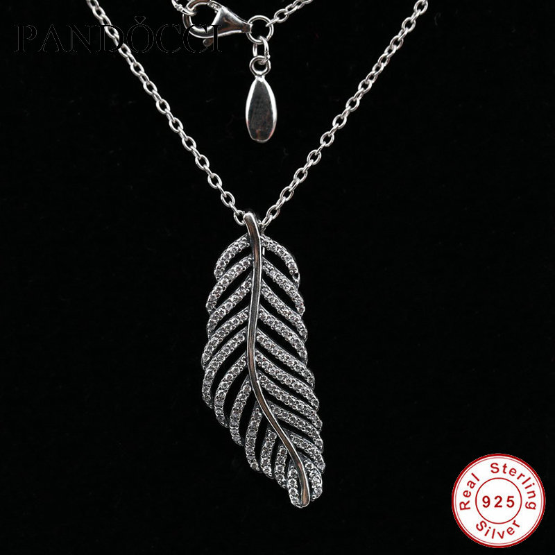 Light As A Feather Pendant With Necklace & Clear CZ 925