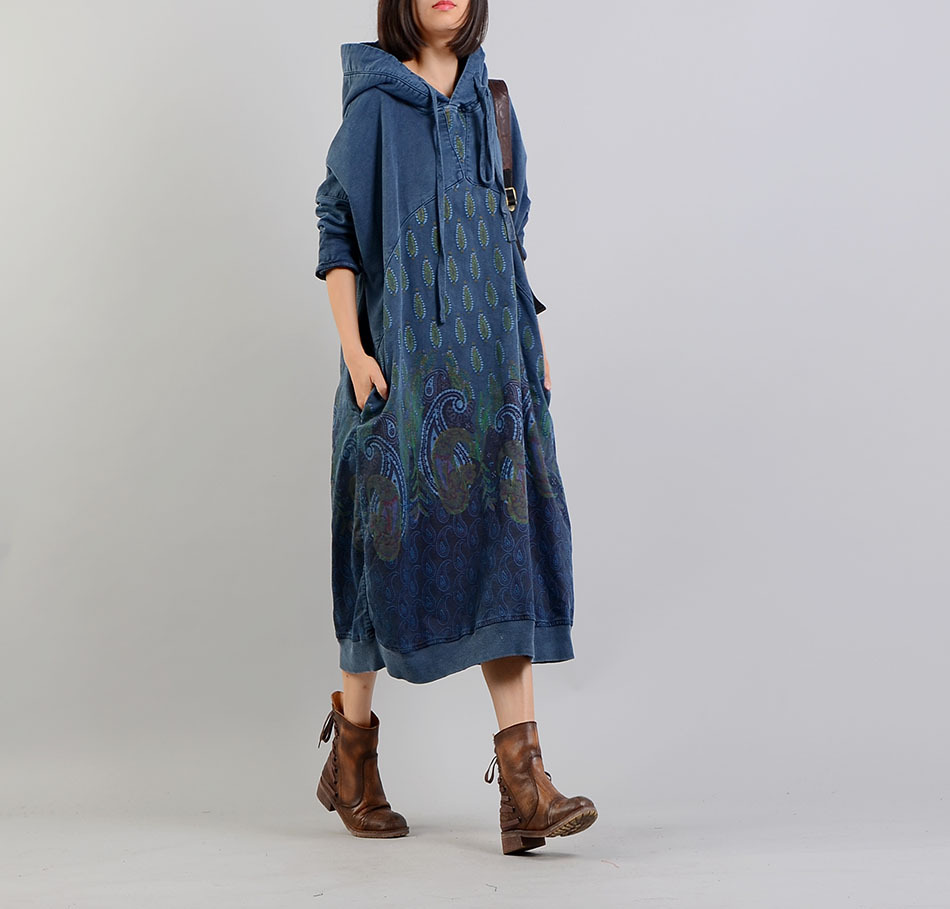 Women Feather Printed Hooded Dress Spring Retro Casual Print Loose Dress Female Ladies Dress 2018