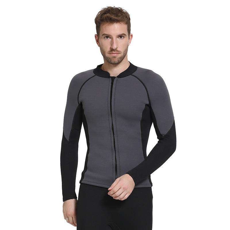 SBART hommes 3mm gris plongée sous-marine costume veste planche à voile maillots de bain canotage plongée en apnée doublure chaude élastique épais veste combinaison