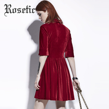 Rosetic Gothic Dress Dark Red Women Summer A-Line Casual Dresses Goth Fashion Street Elegant Hollow Preppy Vintage Gothics Dress