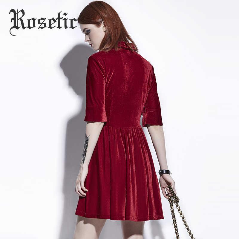 Rosetic gothique robe rouge foncé femmes été a-ligne robes décontractées Goth mode rue élégant creux Preppy Vintage Gothics robe