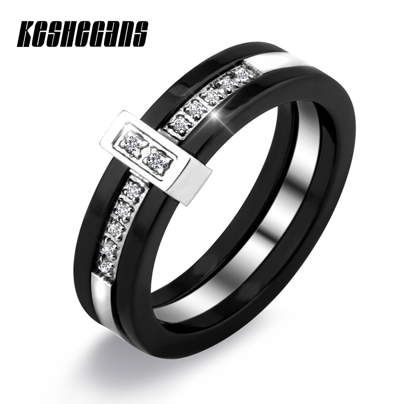 Fashion 5mm Black Crystal Ceramic Ring Top Quality Healthy Without Scratches Trendy Jewelry Women Ring New Year Gift For Friends trendy faux crystal embellished cuff ring for women