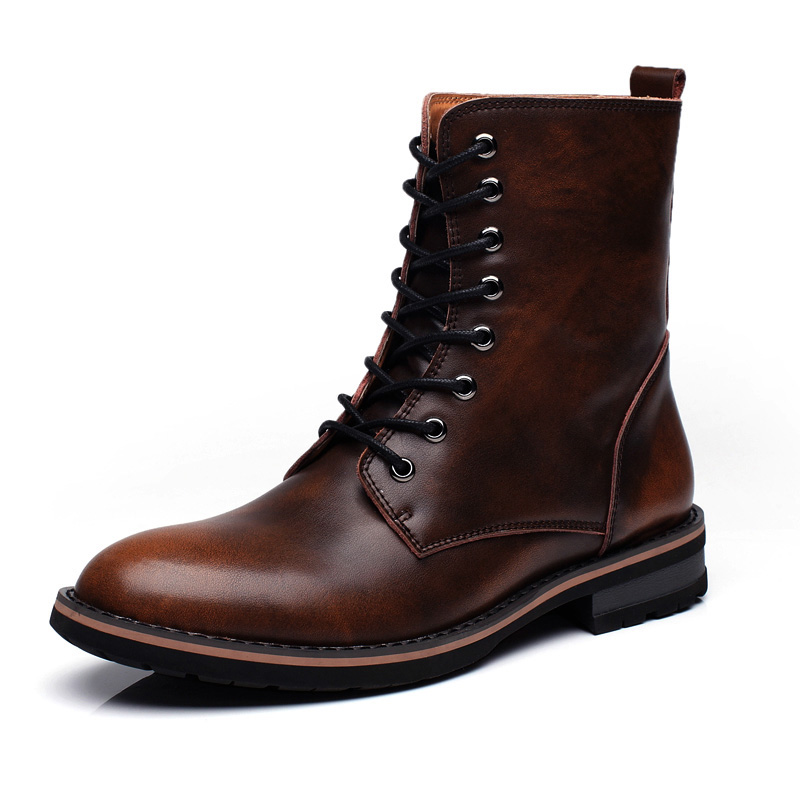 Leather Ankle Boots High Quality Super Warm Snow Boots Winter Shoes With Fur Men British Style Lace-Up Outdoor Leisure Boots Men hot super warm men boots genuine leather snow boots plus fur men ankle boots waterproof winter shoes