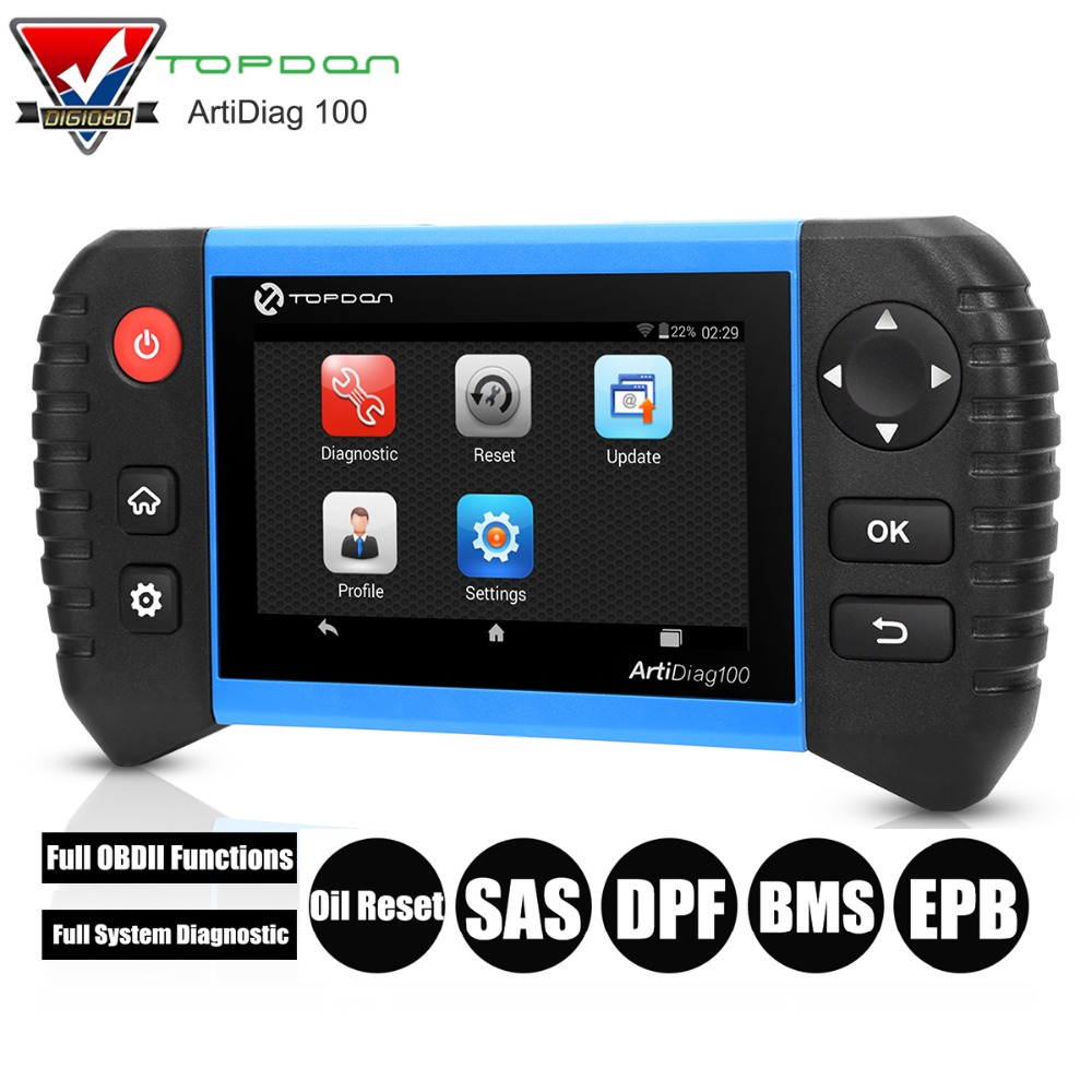 Topdon ArtiDiag 100 Professional OBD2 Diagnostic Tool Full OBDII Functions Full System with Oil Reset/SAS/DPF/BMS/EPB Functions