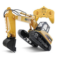 New HuiNa Toys 15 Channel 2.4G 1/14 RC Excavator Charging RC Car With Battery RC Alloy Excavator RTR For kids Boy