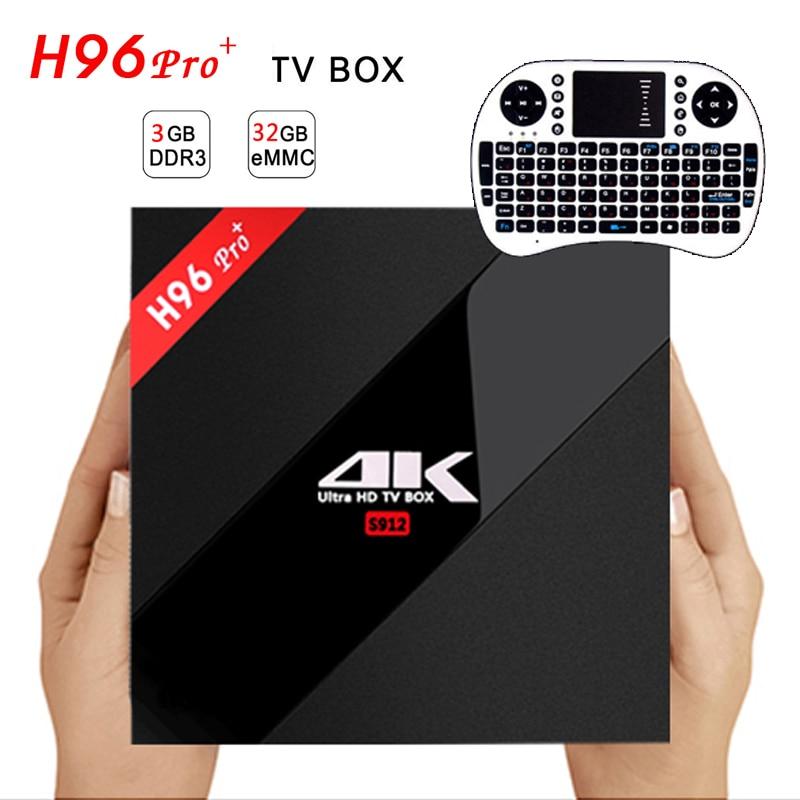 Prix pour H96 PRO + Android 6.0 TV Box Amlogic S912 Octa Core 3G/32G WiFi 2.4G/5.0G BT4.1 KODI Entièrement Chargé H.265 DLNA Miracast 4 K Lecteur