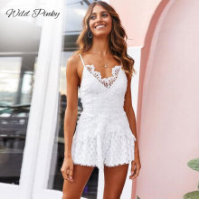 WildPinky Boho Women Playsuits Spaghetti Strap Sexy Hollow Out White Lace V Neck Beach Elegant Shorts Jumpsuit Rompers