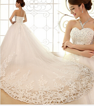 US $12.0 |2016 Luxury Wedding Dress White Rhinestone Princess Tube Top  Bandage Wedding Gown Plus Size Vestido De Noiva Custom Tailor-in Wedding ...