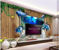 תמונה מותאמת אישית לא ארוג טפט 3d mural עץ גפן דולפינים מים 3d ציור קיר ציורי קיר טפט לסלון