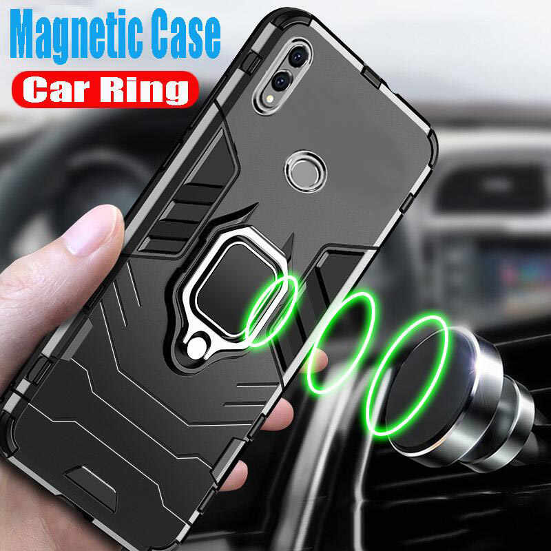 Luxury Silicone Armor Car Ring Case For Huawei Honor 8X 8A 10i 7C 7A Case Cover For Honor 10 Lite P Smatr 2019 Shockproof Case