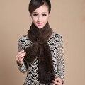 Оптовая Трикотажные норки шарф с цветком Очень теплый Натуральный Мех Шарфы