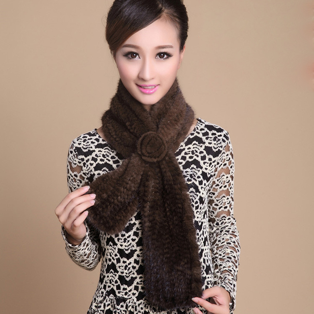 Wholesale Knitted Mink fur scarf with a flower Very warm  Natural  Fur Scarves