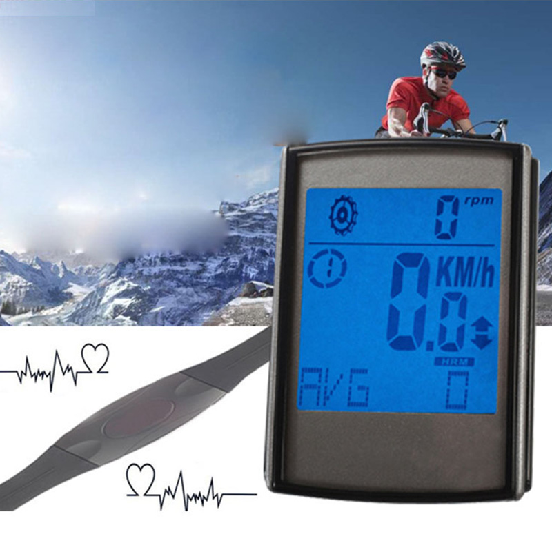 Multifunctional 3 In 1 Wireless LCD Bicycle Cycling Computer Speedometer Cadence Sensor Odometer Heart Rate Monitor Chest Strap