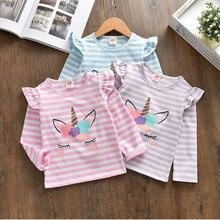 Camisetas de manga larga de algodón a rayas unicornio lindas chicas ropa otoño primavera dibujos animados niños camisetas niños tops