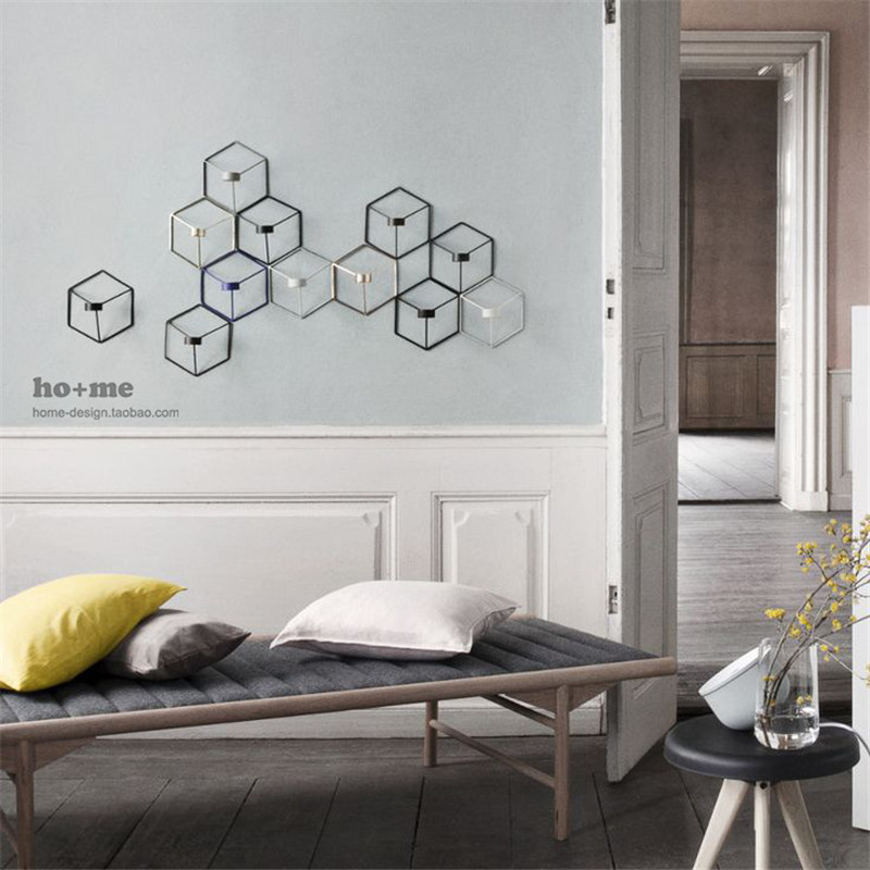 Hot Sale Visual Touch Nordic 3D Geometric Candlestick Metal Wall Candle Holder Sconce Matching Small Tealight Home Ornaments