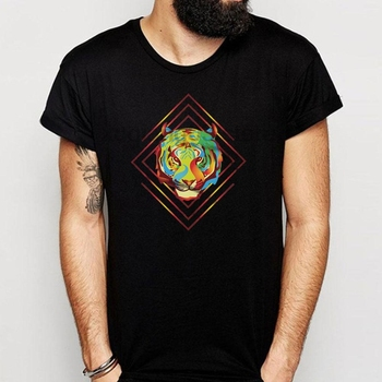 Fire Tiger Summer Hippie Hipster Psychedelic Rave Festival Neon Gift Gift Idea Men'S T Shirt
