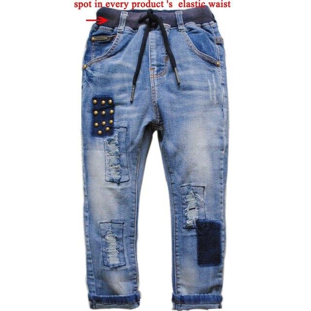 6073 kids boys jeans hole children's pants spring&autumn trousers  blue fashion boy children