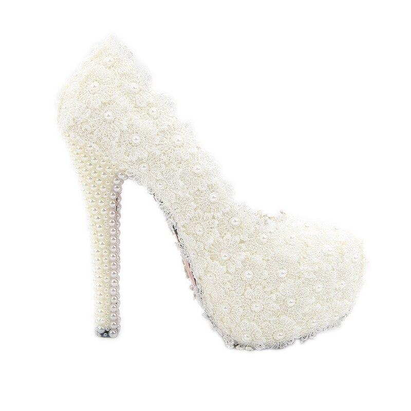 Perla Encaje Plataforma De Tacón Zapatos Alto Novia Elegancia Encaje Boda  Flor FqFUwxPCr 5218e1d310ae