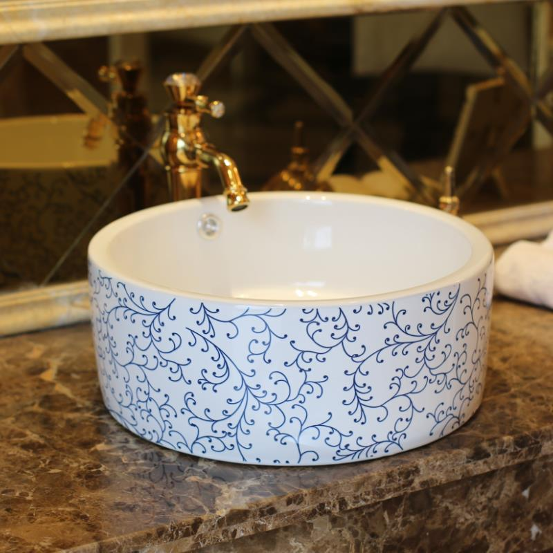 Chinese Ceramic Art Basin Sinks Counter Top Wash Basin Bathroom Vessel Sinks Vanities Blue And