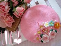 Handmade Womens Winter Wool Warm Knit Flower Beanie Beret Hat High Quality Warm Lolita Caps