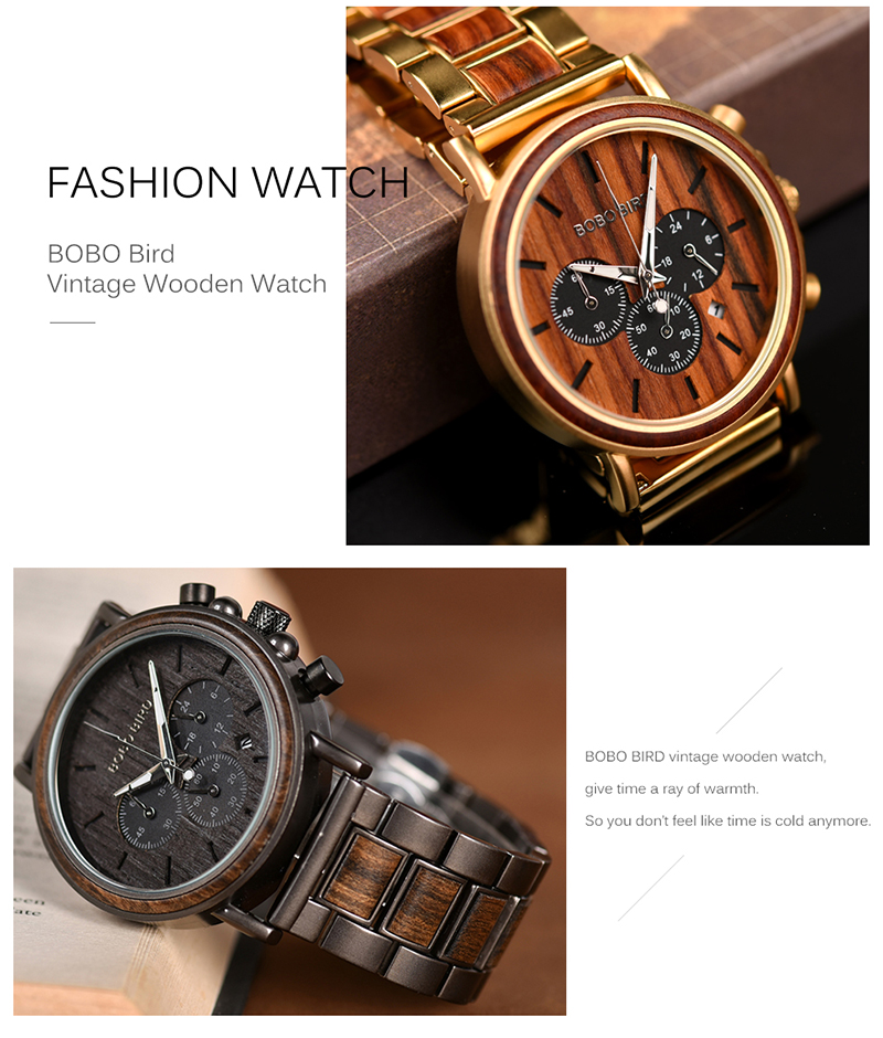 BOBO BIRD Business Luxury Brand Quality Chronograph Wood Metal Quartz Wristwatch Wooden Watch Men Relogio Masculino J-Q26 5