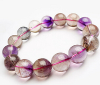 Free shipping 435 Top Quality Natural Super 7 Seven Melody Stone Bracelet Round Beads AAAA 14mm