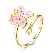 Fashion Opening Rings Gold Color Plated Butterfly Shape Enamel Process Finger Ring Trendy European Women Ladies Finger Jewelry