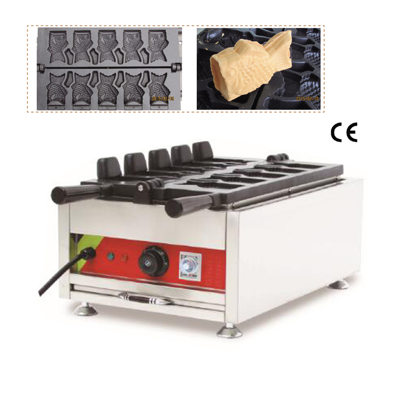 Commercial Ice Cream Cone Taiyaki Machine Open-mounth Fish Waffle Maker Street Snack Equipment 5 Moulds soft ice cream machine commercial 3 color icecream maker 32l ship by sea free