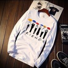 New Long Sleeve T Shirt Unisex Friends TV Play Cartoon Design Print 100% Cotton Top Tee Casual O Neck Streetwear Clothing