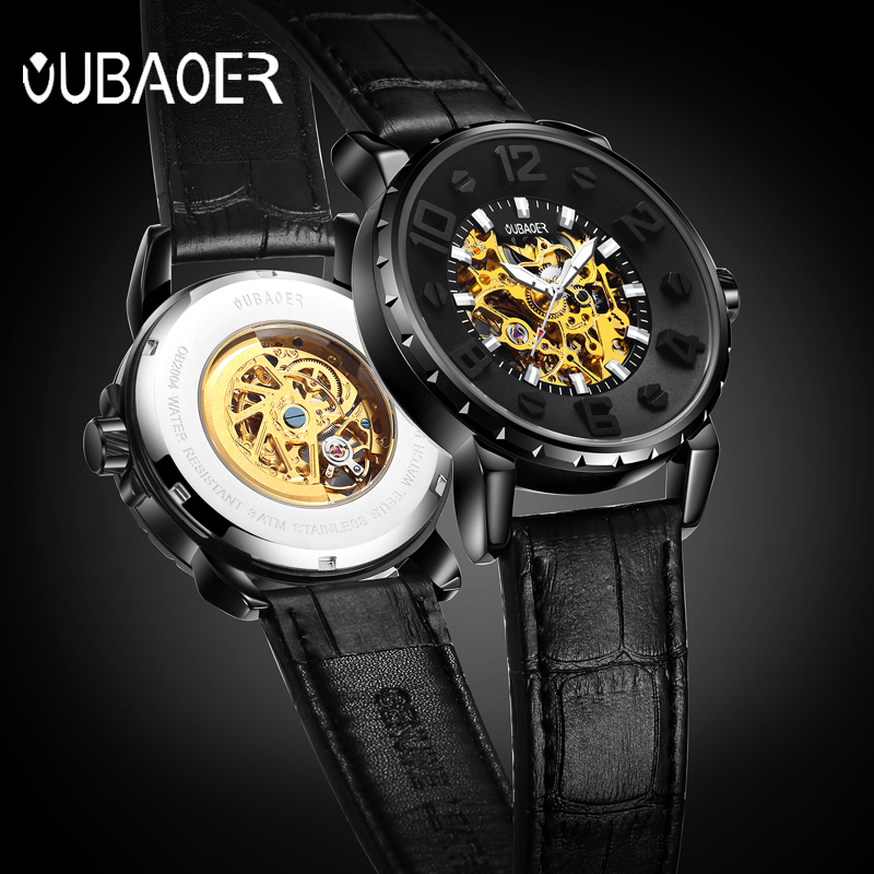OUBAOER 3D Dial Hollow Automatic Mechanical Watch Men Top Brand Luxury Leather Winding Luminous Sport Watches Relogio MasculinoOUBAOER 3D Dial Hollow Automatic Mechanical Watch Men Top Brand Luxury Leather Winding Luminous Sport Watches Relogio Masculino