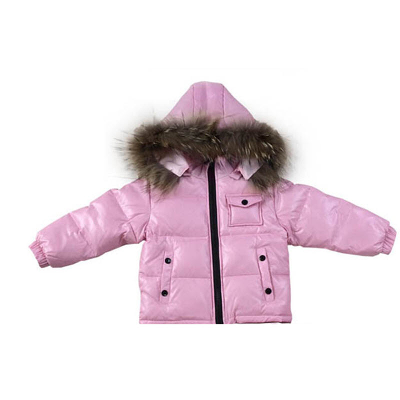 купить 2017 New Baby Snowsuit Baby Real Fur Hoodie Down Jacket Toddler Christmas Childrens  Babies Clothes Winter Thickening Outerwear недорого