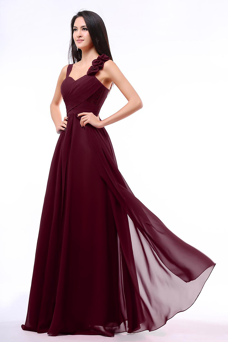 Burgundy bridesmaid dresses a line sweetheart ruched bodice straps burgundy bridesmaid dresses a line sweetheart ruched bodice straps with flowers long chiffon cheap bridesmaid dresses online in bridesmaid dresses from ombrellifo Gallery