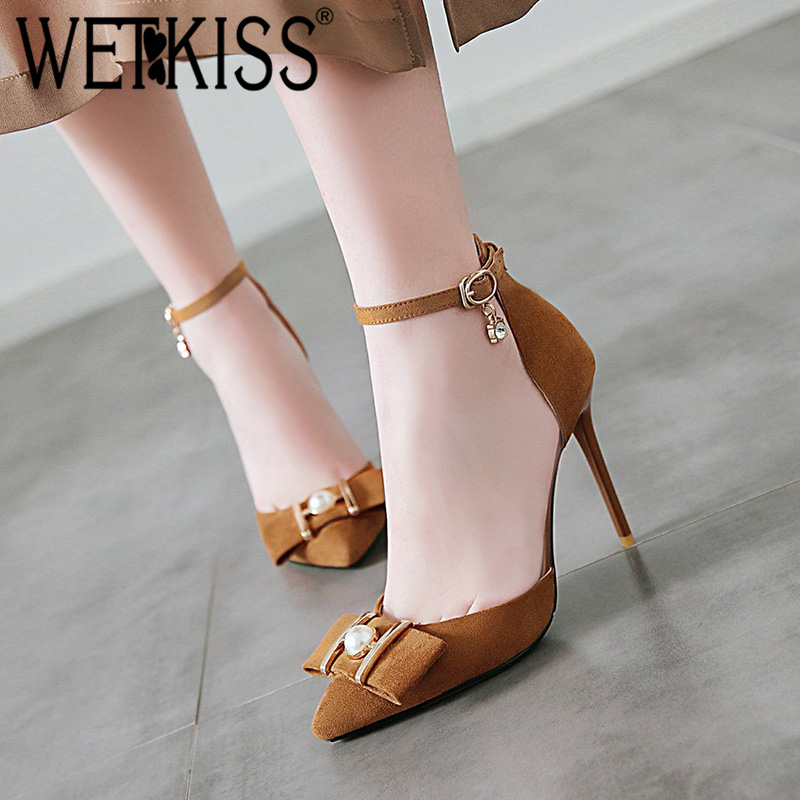 WETKISS Sandals Women Ankle-Strap Pointed-Toe Footwear Crystal-Shoes Female Plus-Size
