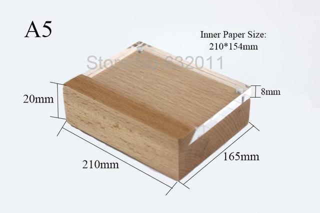 Perfect A5 Wooden Shelf Table Price Tag Holder Frame Desk Sign Holder  AR64