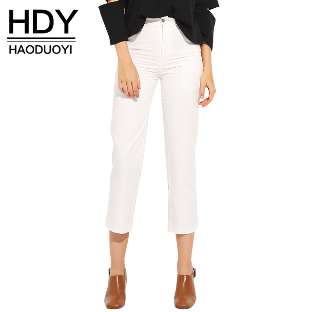 HDY Haoduoyi Autumn New Fashion Women Pants Solid White Cropped Trousers for Women Street Style Slim Casual Leggings