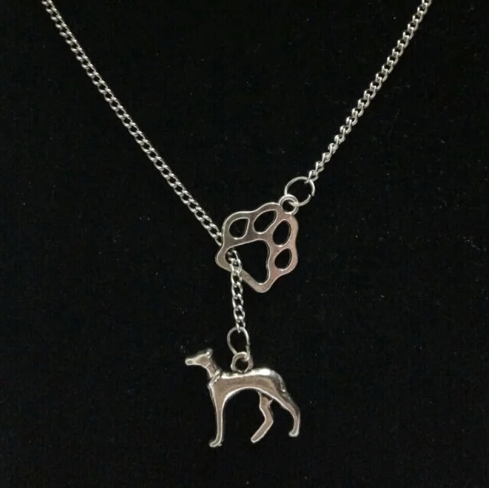 Fashion Vintage silver Greyhound Dog &cat/dog paw charm Pendant sweater chain suitable necklace DIY jewelry AccessoriesX112