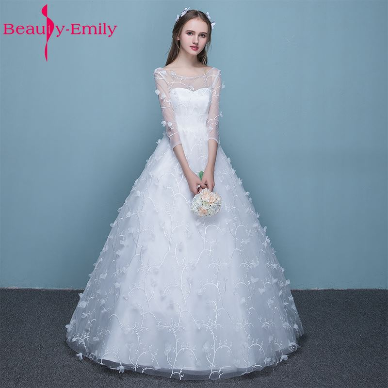 A Line White Tulle Wedding Dress 2017 Arabic Bridal: Beauty Emily Pure White Bride Wedding Dresses 2017 Simple