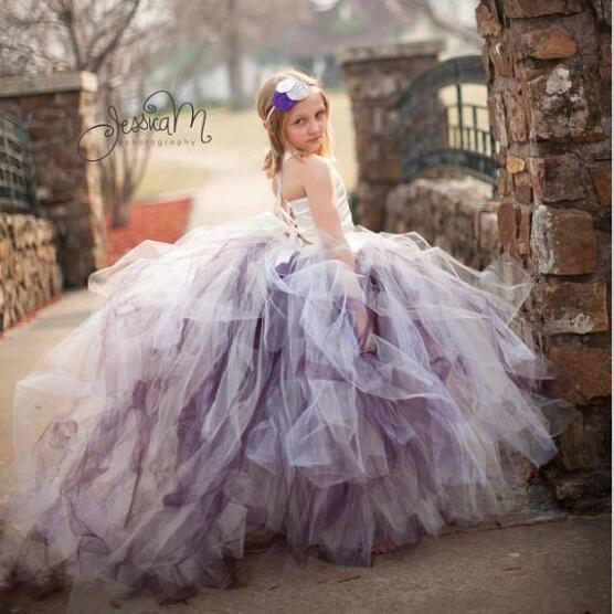 2015 amazing fluffy 3 layer flower girl dress ivory satin mix color