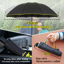 130cm Umbrella Rain Women Men 3Folding Portable Double Layer Outdoor Large Paraguas Strong Windproof Business For Men Umbrellas