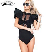 2017 Sexy Bodysuit With Ruffle Short Sleeve Romper Overalls For Women Bodysuits Slim Plus Size Jumpsuit