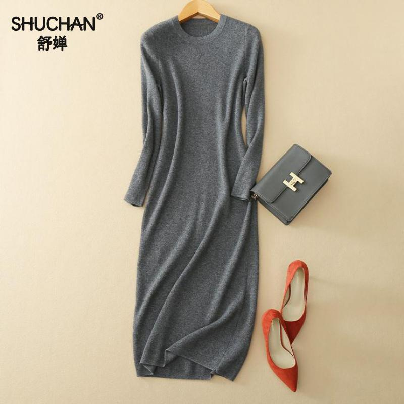 SHUCHAN 2017 Elegant Cashmere Knitted Dress Full Sleeve Dresses Autumn Winter New Arrival Cashmere Knitted Dress Basic Kdsxx