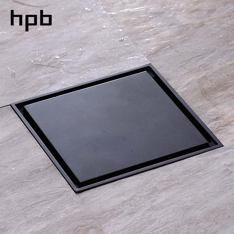 HPB salle de bain Anti-odeur Drain de sol en laiton grille de douche Drain 4 pouces noir laqué carré égouttoir salle de bains filtre HP7903b