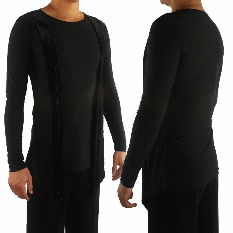 Latin Dance Top Male Long Sleeve Round Neck Men Latin Ballroom Shirt Salsa Stage Tango Cha Cha Rumba Tops Practice Wear DNV11332