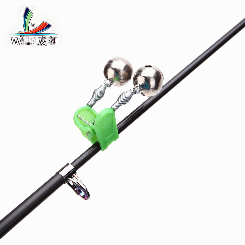 Cheap 2 Pcs 4.5cm 7.4g Alarm Fishing Bite Fishing Rods Bell When Tips Holders Clocks Green Ring ABS Fishing Accessories