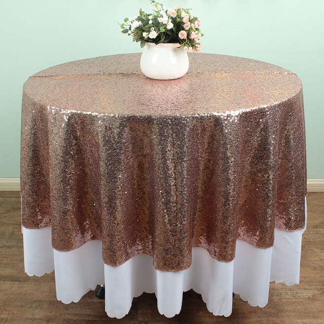 72 Inch Round Champagne Glitz Sequin TableCloths Banquet Table Linens  Wedding Cake Table Overlay Decoration